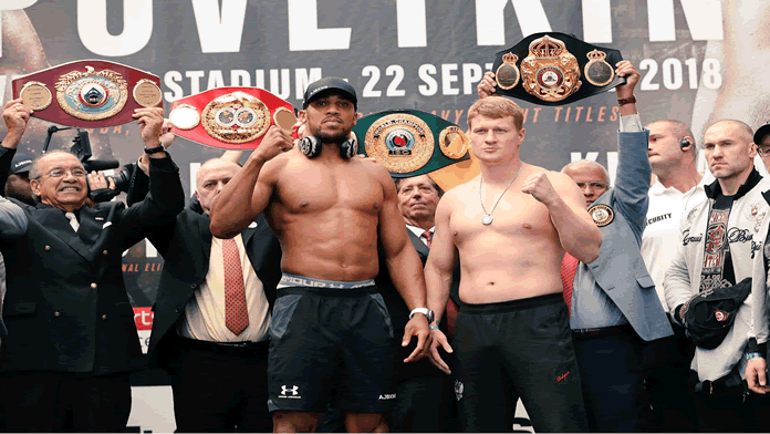 Joshua vs Povetkin Weigh In.